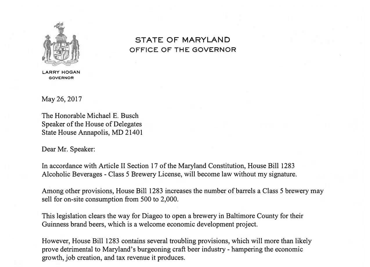 Gov. Hogan's Message About HB1283