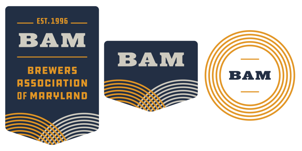 Image featuring three treatments of the new BAM brand.