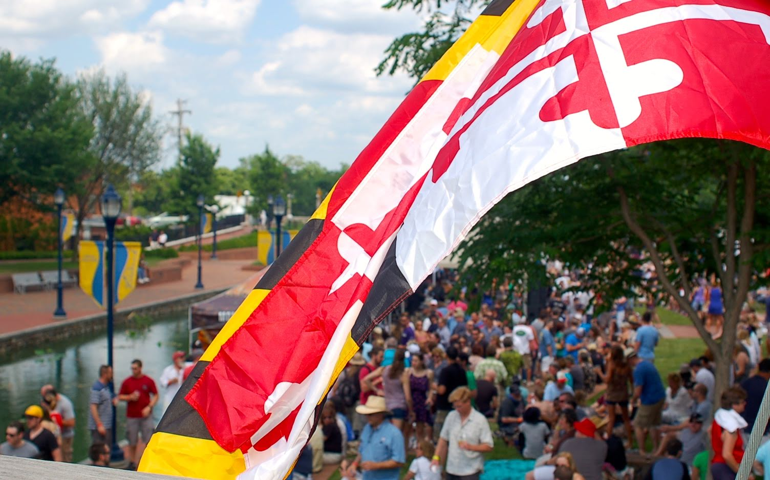 Maryland flag hung by Maryland beer at Carroll Creek in Frederick for Maryland Craft Beer Festival