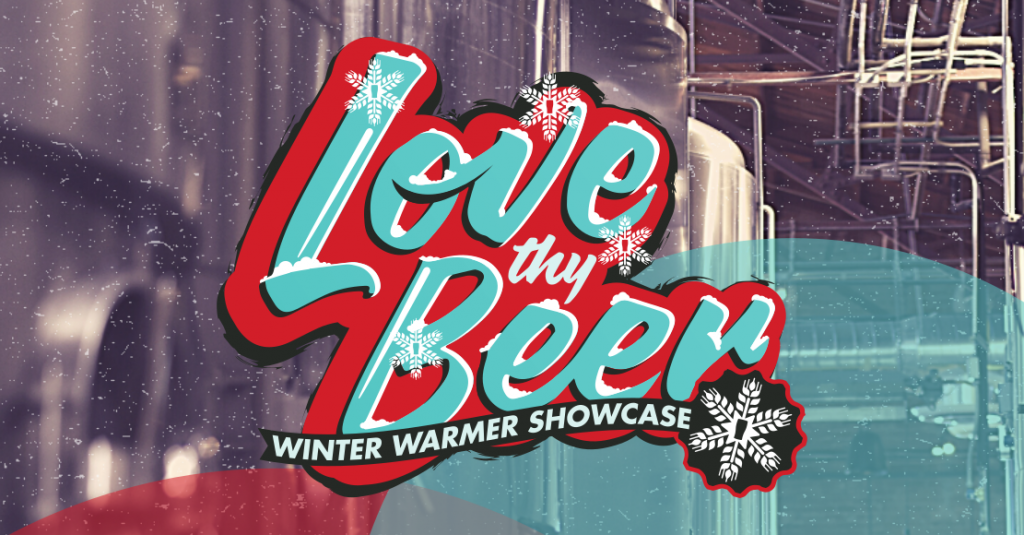 Love Thy Beer script logo over colorized image of brewery cellar and fermentation tanks.