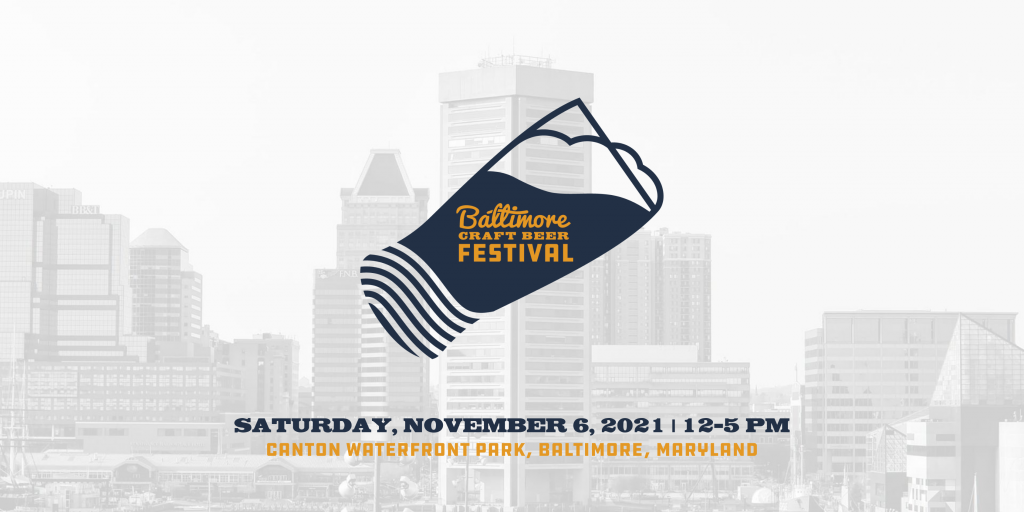 Baltimore Craft Beer Fest Logo with Baltimore Inner Harbor skyline in the background